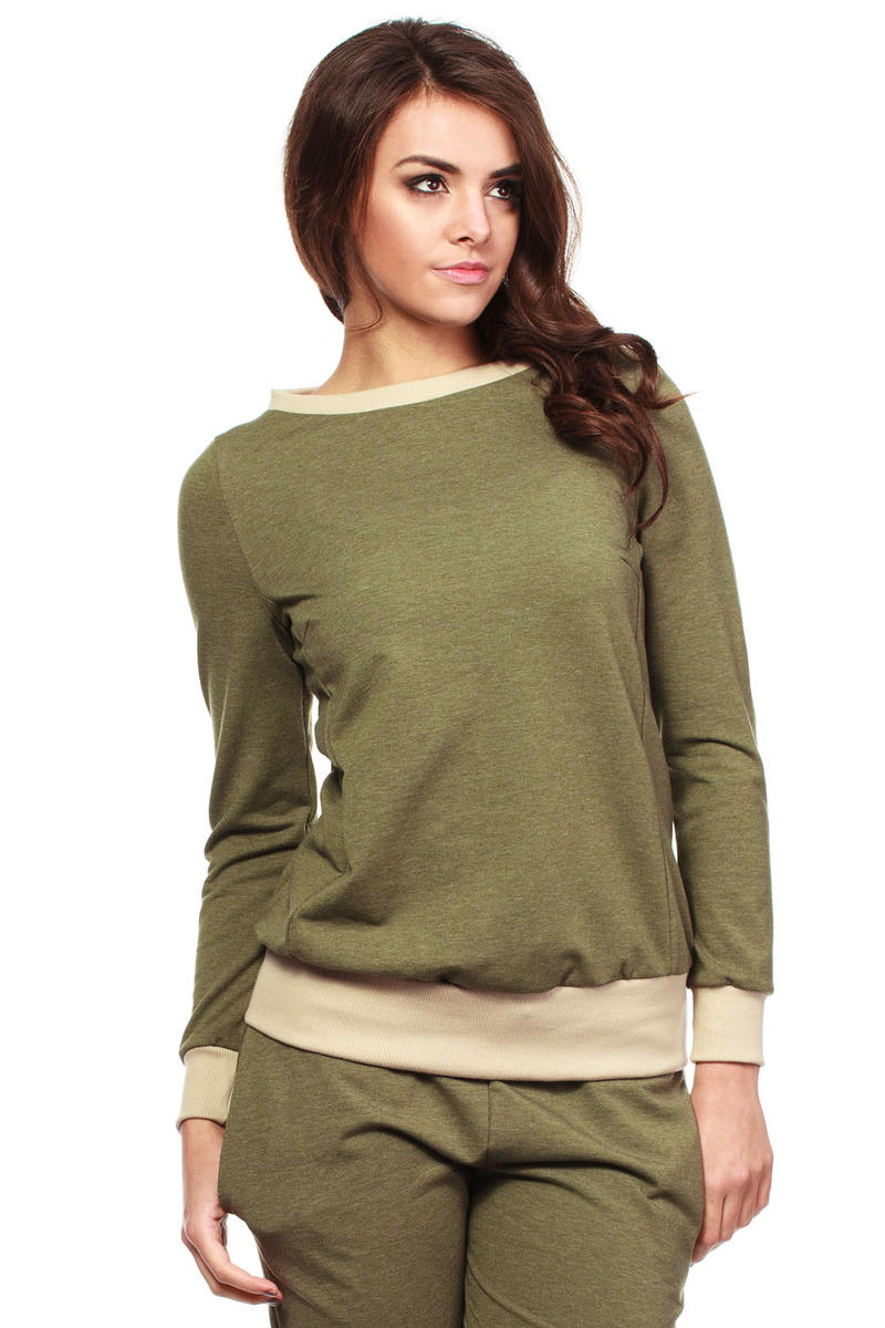 Khaki Green Dynamic Sporty Sweatshirt Long-sleeve Blouse