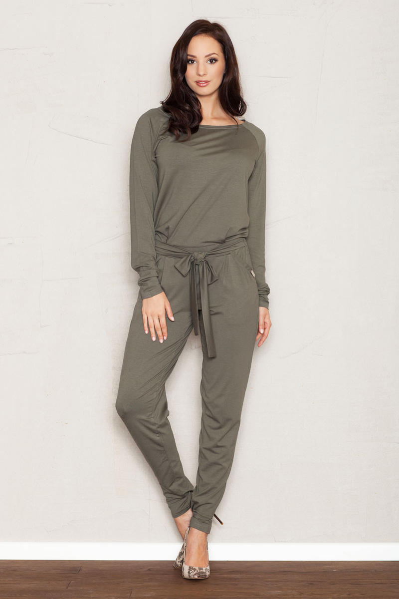 Olive Jumpsuit with Raglan Sleeves and Self Tie Belt