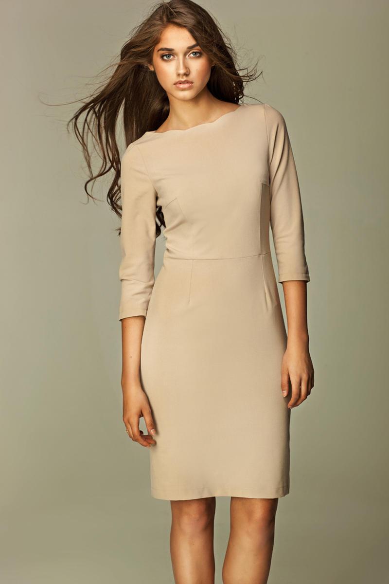 Beige Most Elegant Bardot Pencil Dress