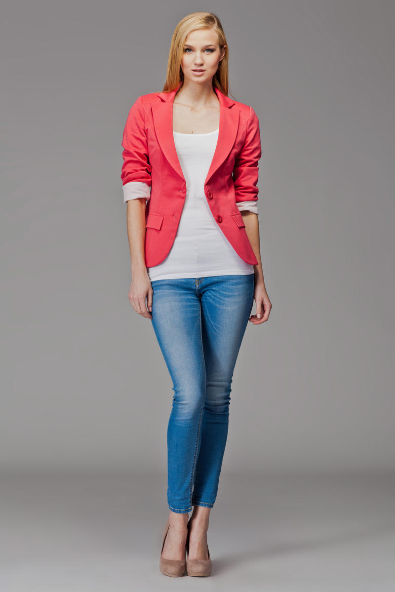 Image For Contrast Sleeves Coral Blazer with Twin Side Flap Pockets