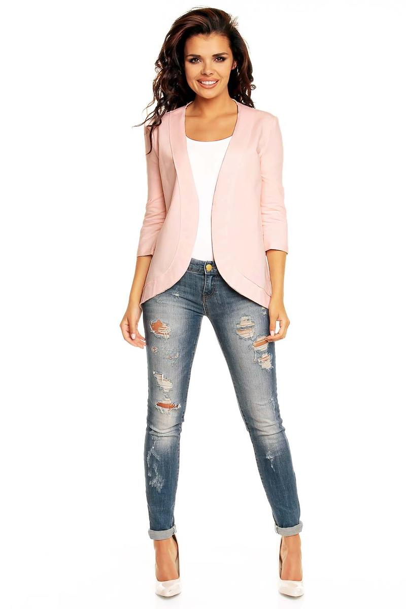 Curvy Front Open Pink Cardigan with 3/4 Sleeves