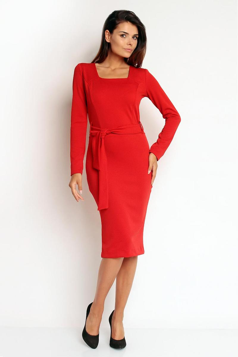 Elegant Red Midi Dress with Self Tie Belt