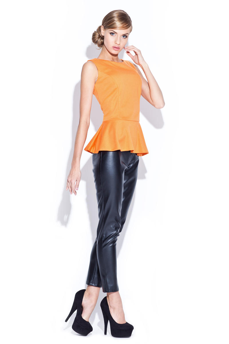 Orange Sleeveless Top with Frilled Hemline