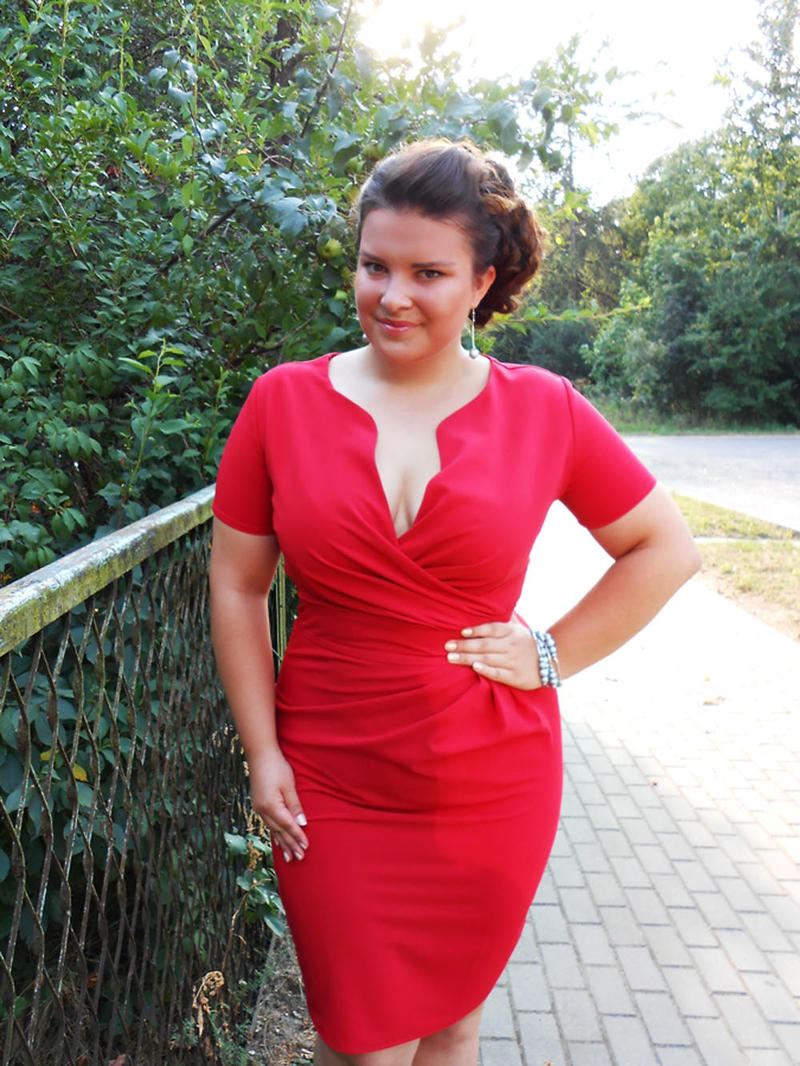 Wrap Around Self Belted Sheath Red Dress Plus Size