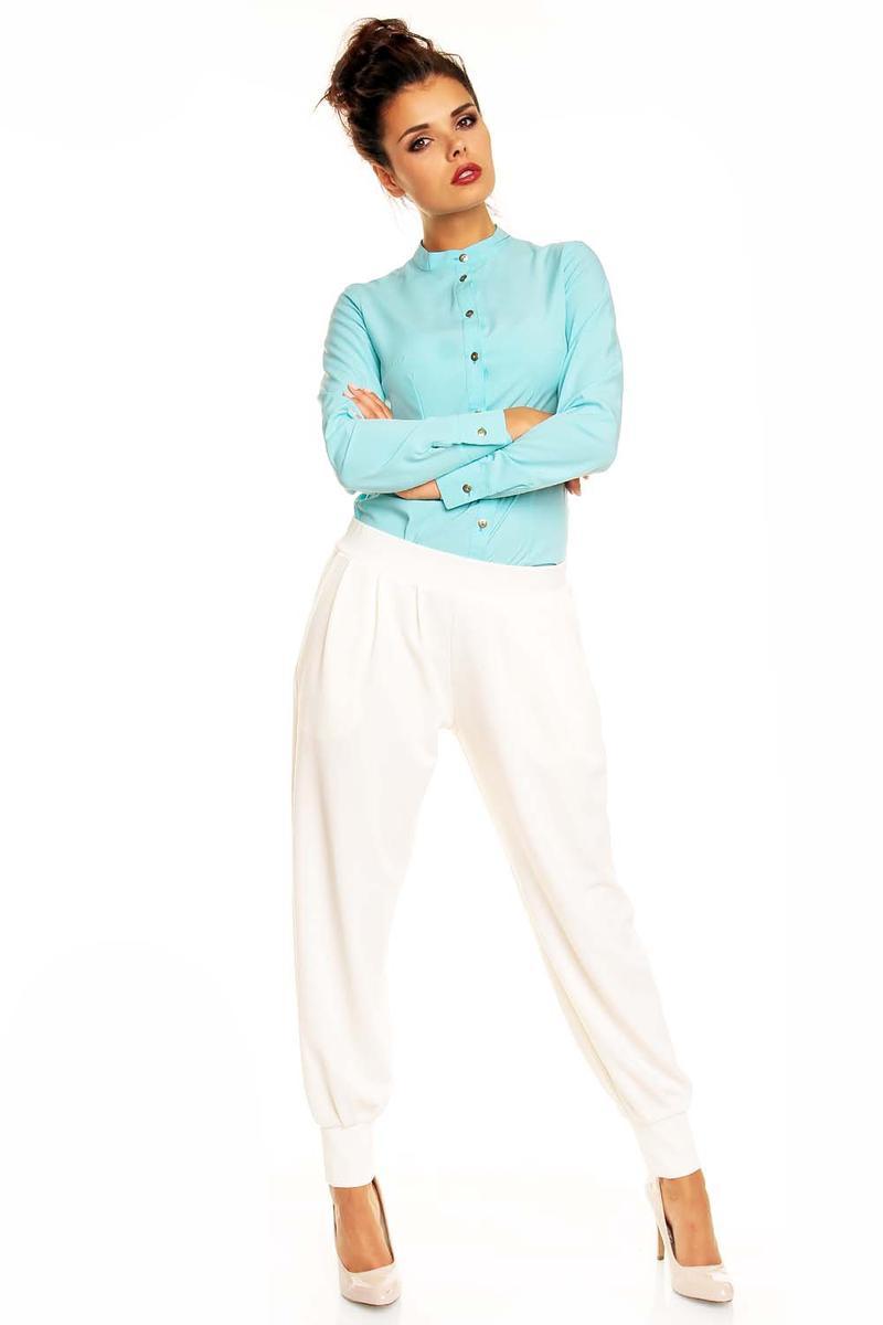 Stretchable Waist Pleated Aladin Ecru Pants