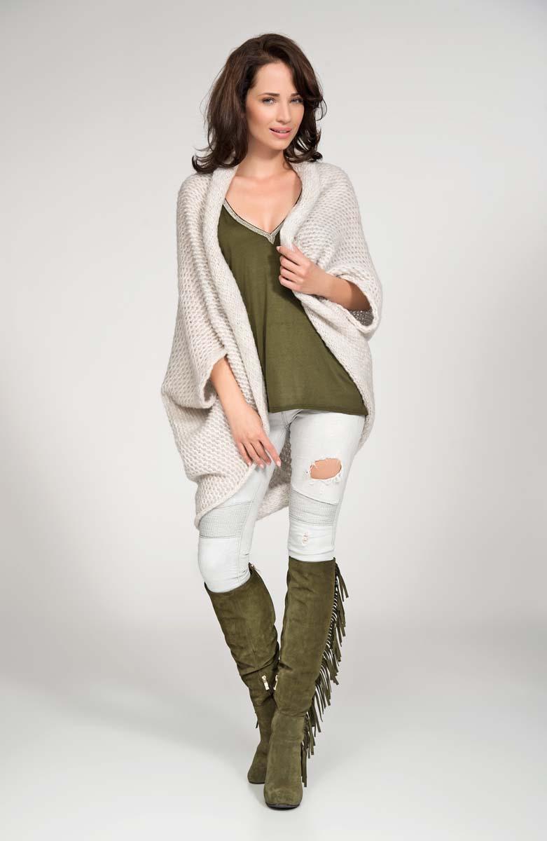 Beige cardigan cape with wide shoulders
