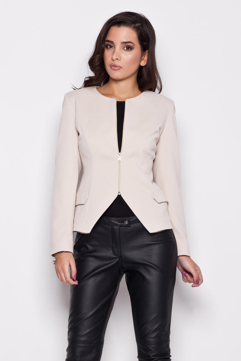 Seam Beige Blazer with Slit Neckline and Semi Zip Fastening