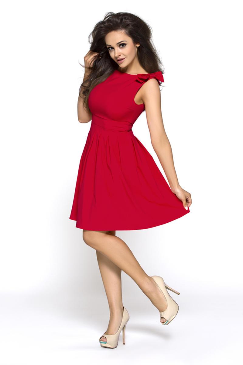 Deep Red Shoulder Bow Sleeveless Flippy Dress
