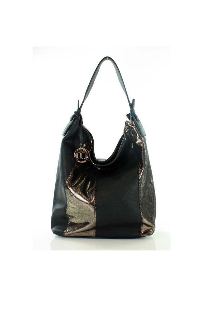 Black&Gold hobo bag with shining stripes