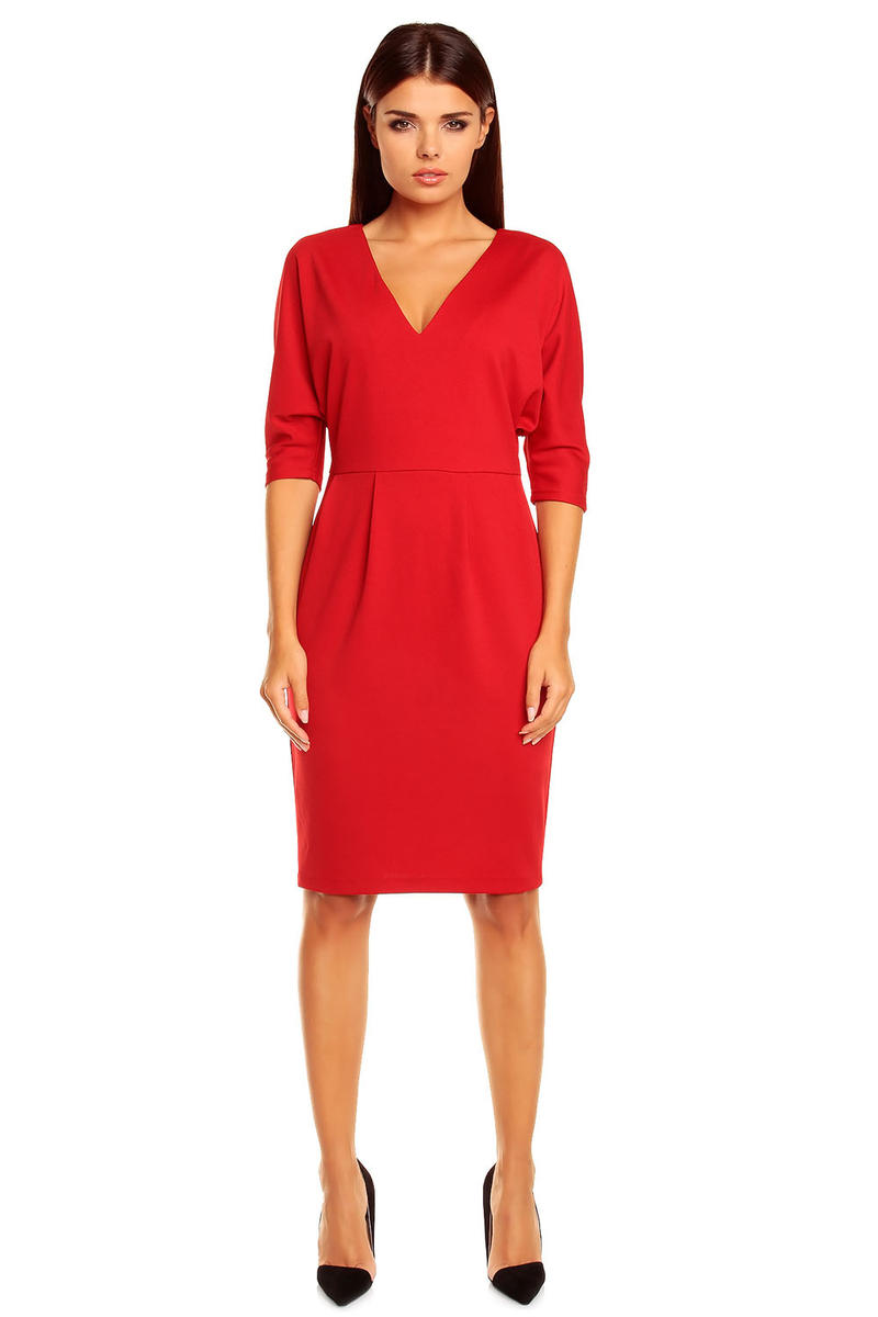 Red V-Neck Dress with 3/4 Seam Sleeves