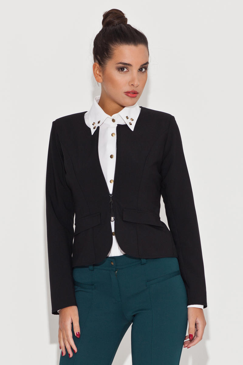 Round Neck Black Blazer with Semi Zipper Fastening