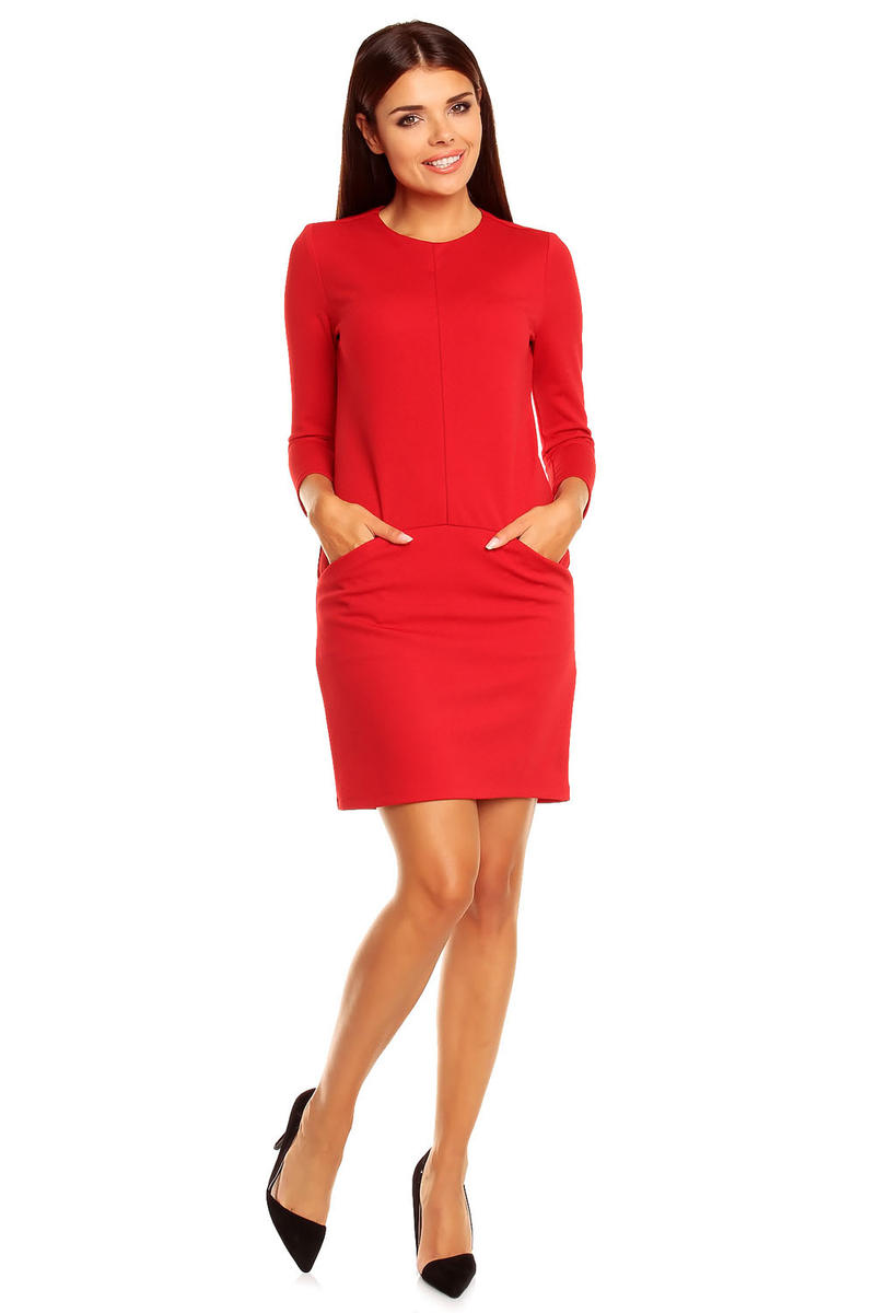 Red Grecian Chic Block Style Dress