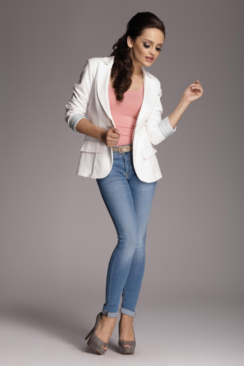 Image For Contrast Sleeves Ecru Blazer with Twin Side Flap Pockets