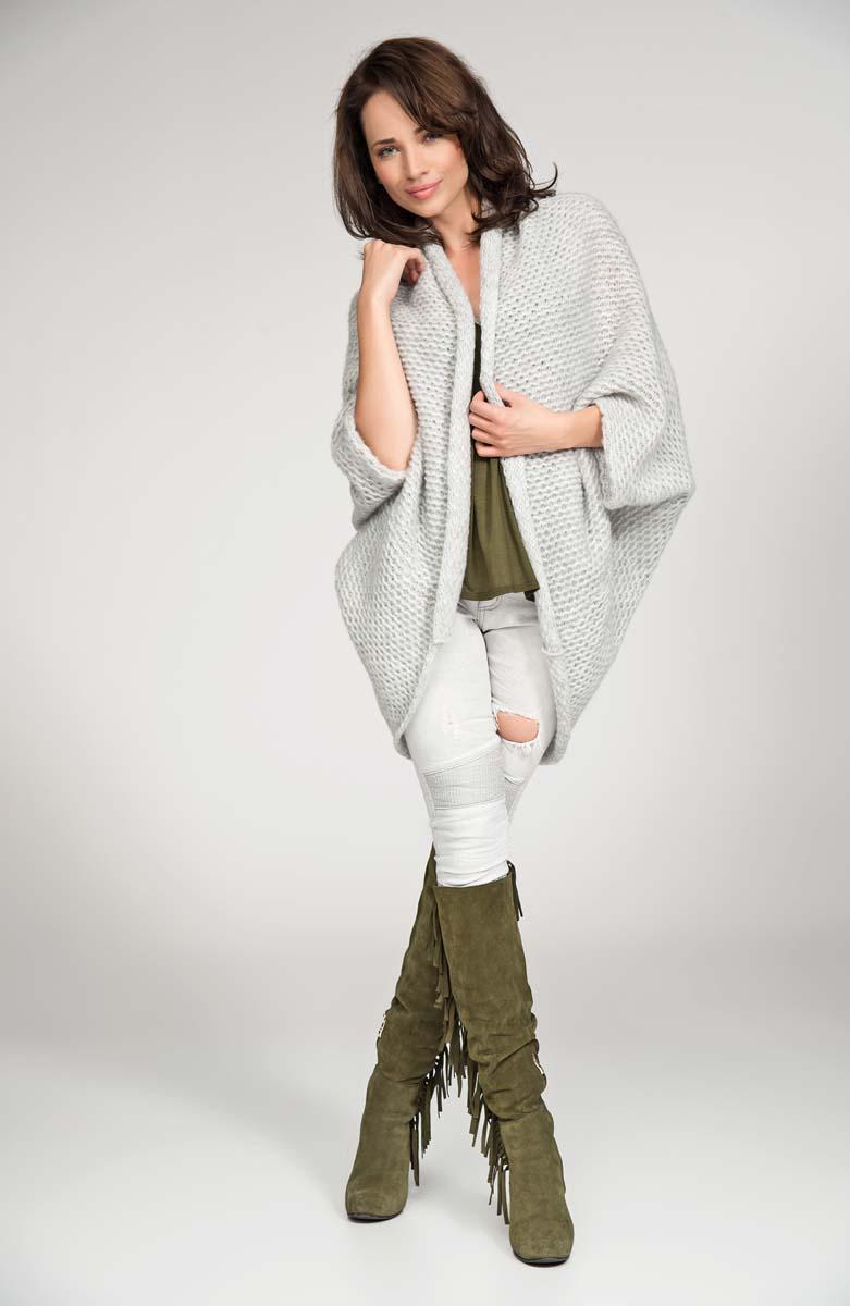 Light grey cardigan cape with wide shoulders