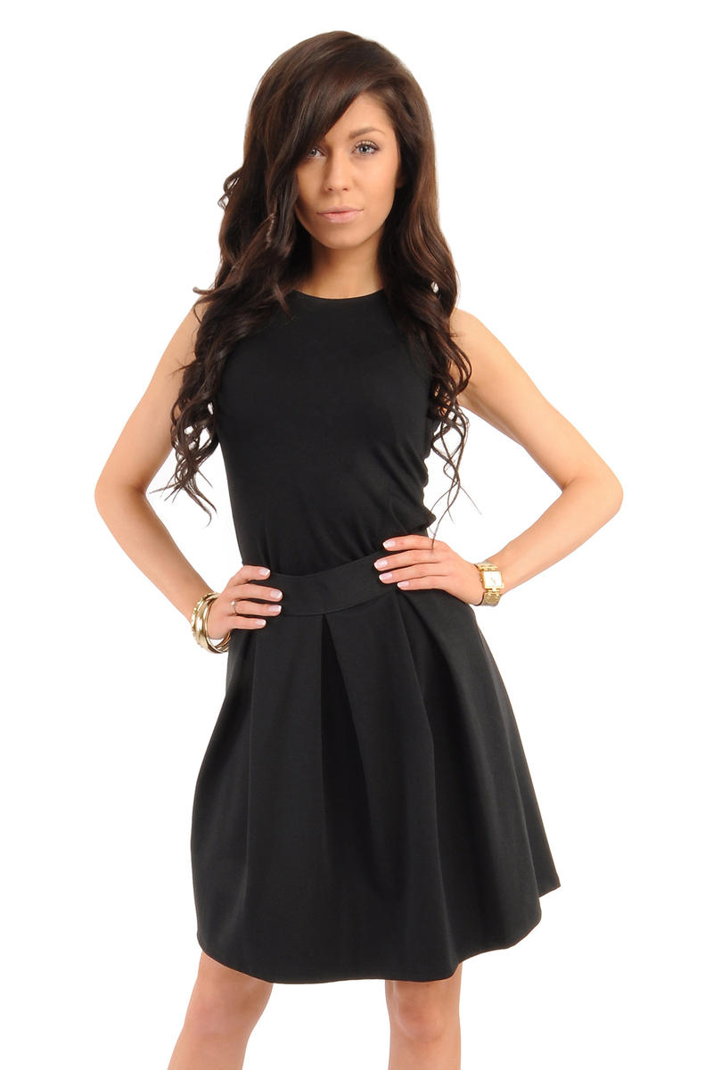 Image For Deep Pleat Short Black Skirt