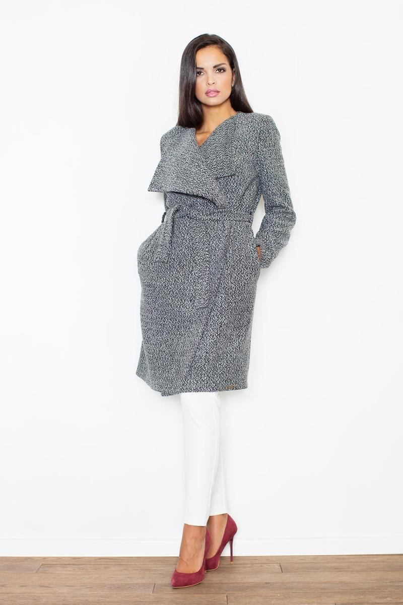 Oversized Double Breasted Grey Coat with Self Tie Belt