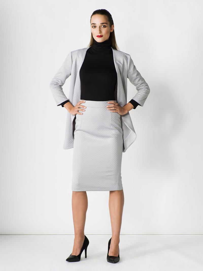 Grey Pencil Skirt with Back Slit