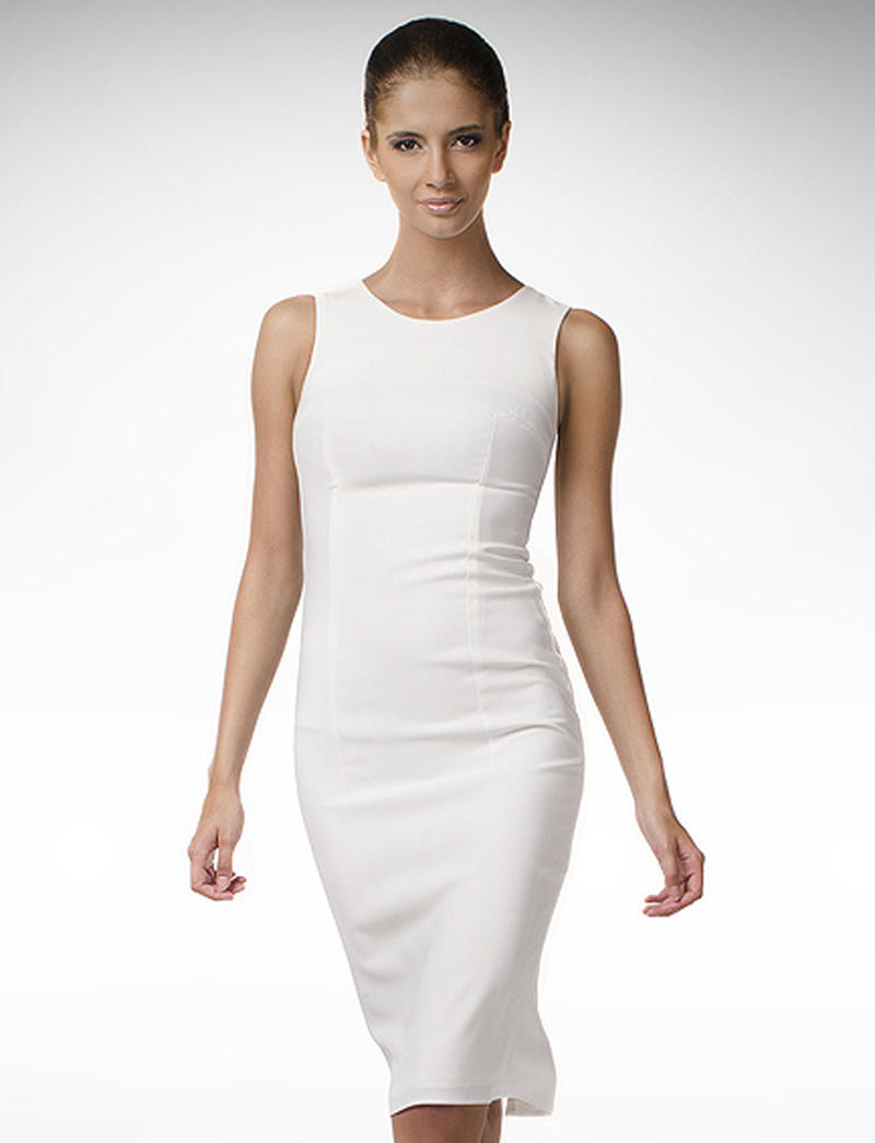 White High Chic Hepburn Inspired Midi Dress