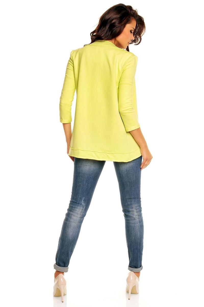 Curvy Front Open Lemon Cardigan with 3/4 Sleeves