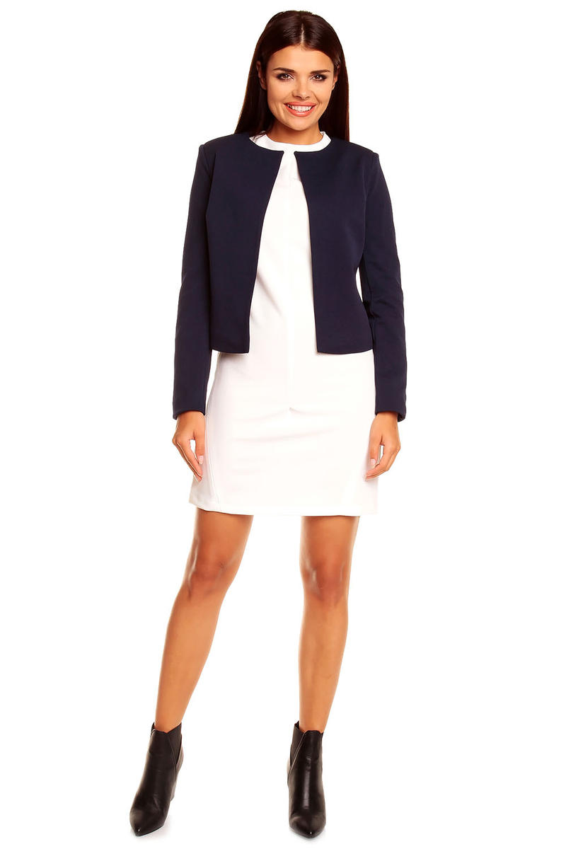 Navy Collarless Cropped Jacket for Women