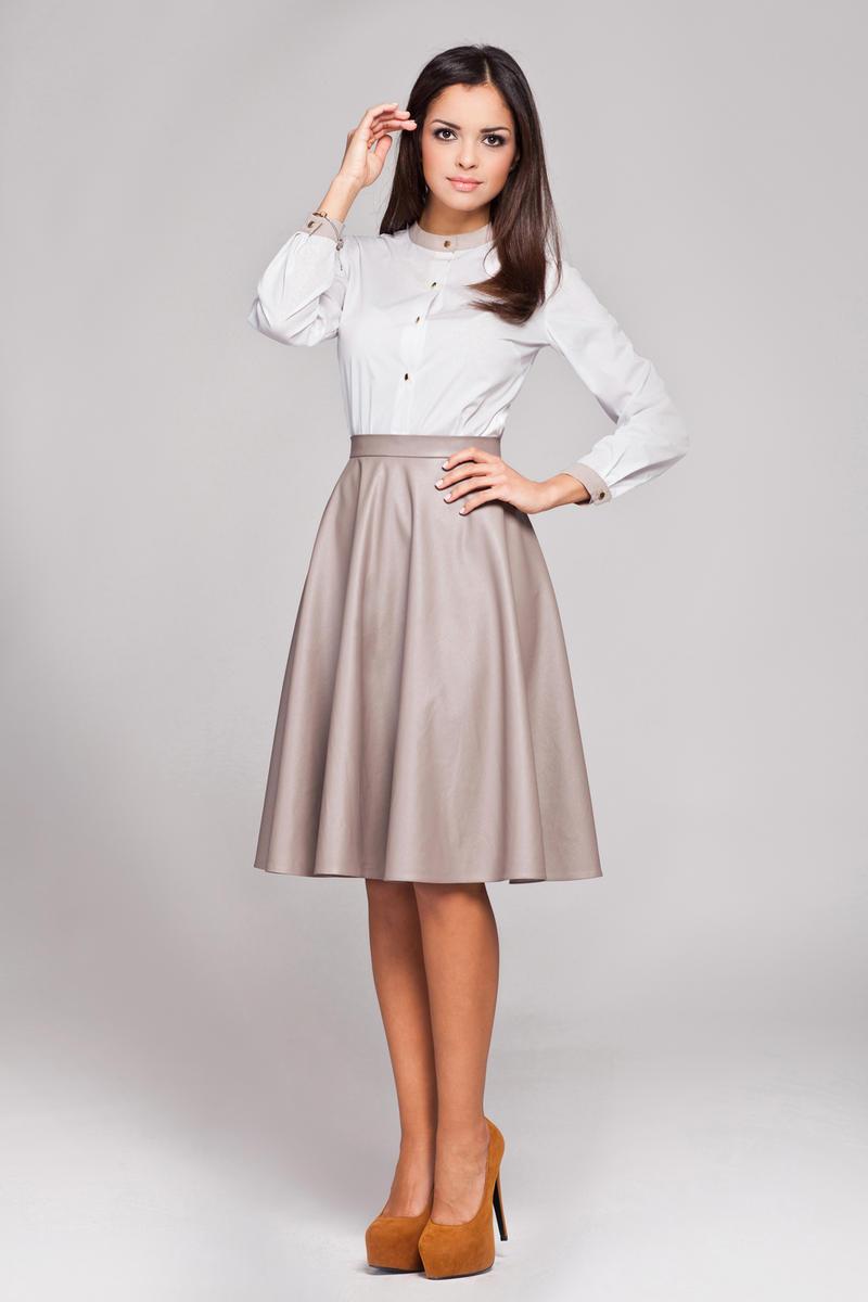 Beige Leather Flared Knee Length Skirt