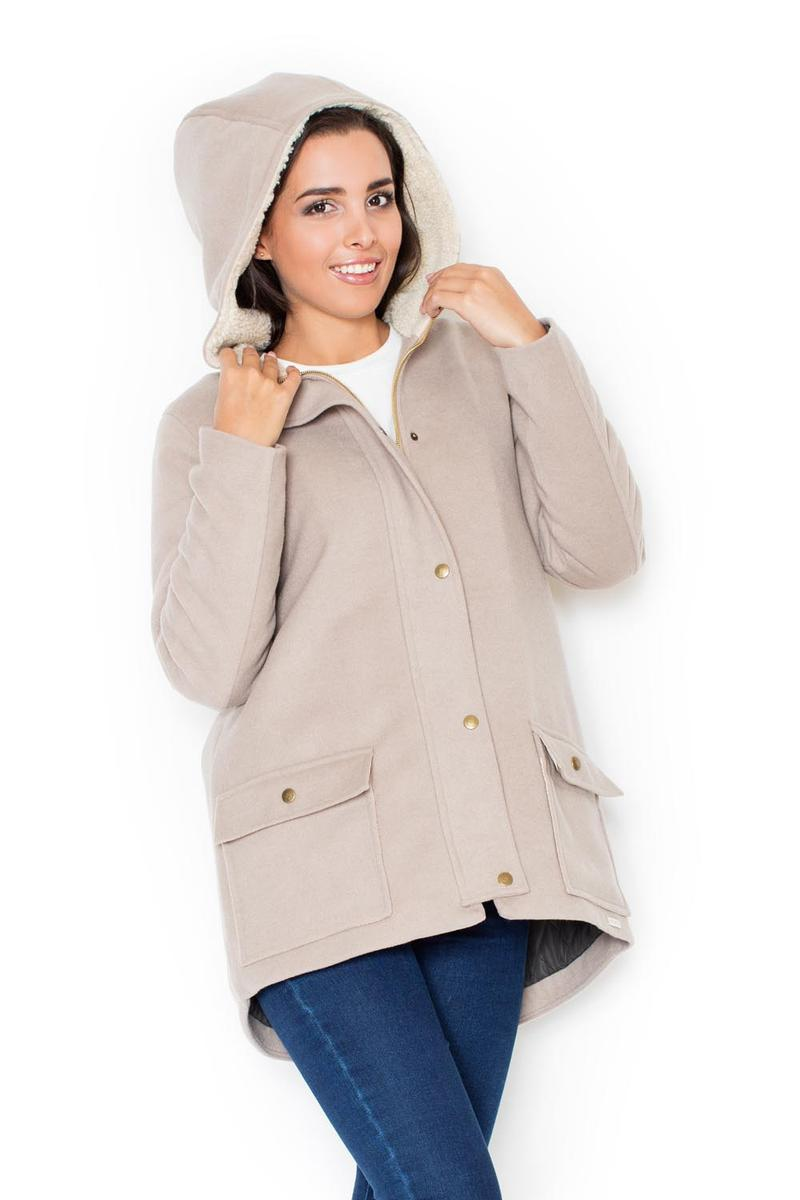 Beige Coat with Fur-Lined Hood
