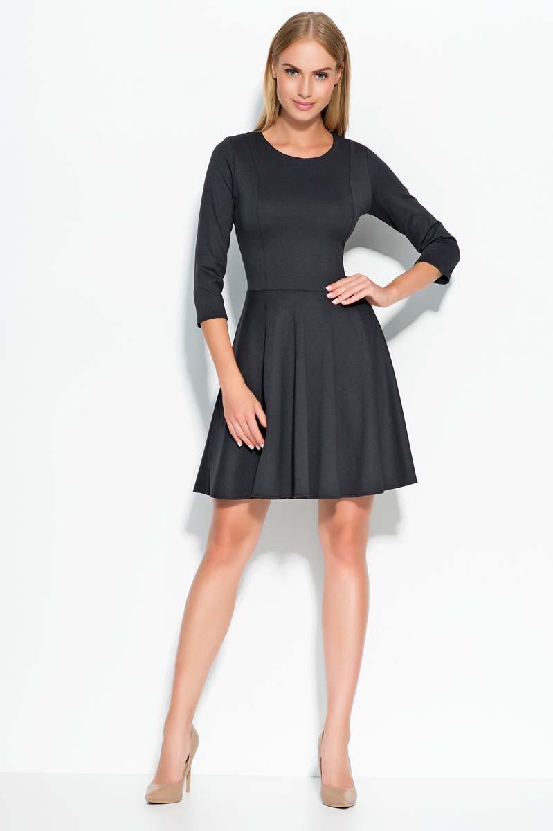 Black skater dress with seam bodice