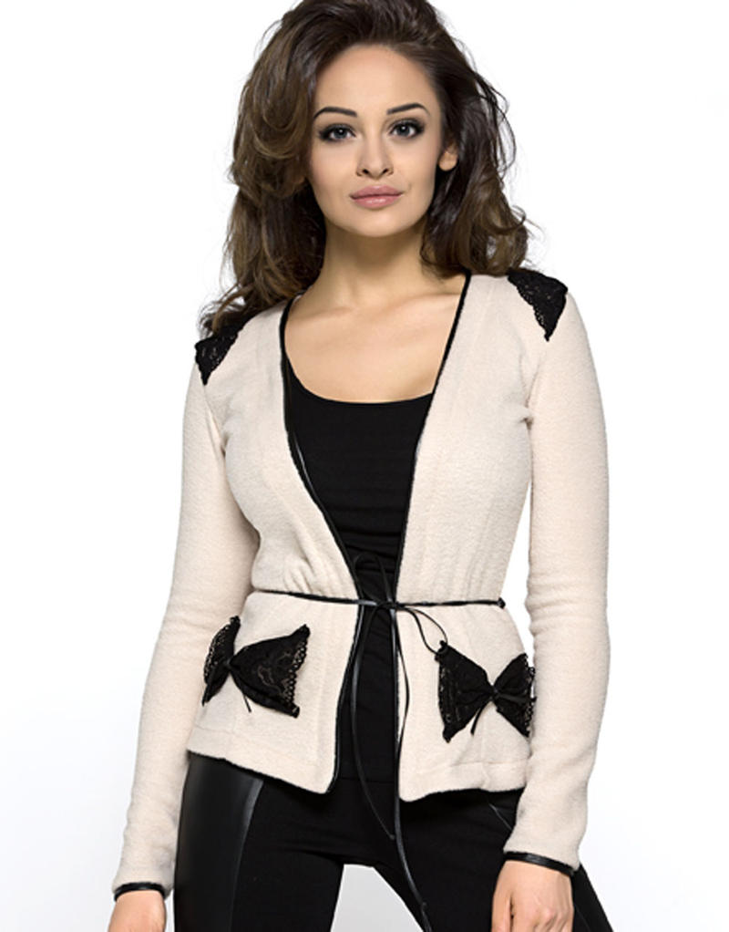 Lace Lapel Beige Cardigan with Bow Side Pockets