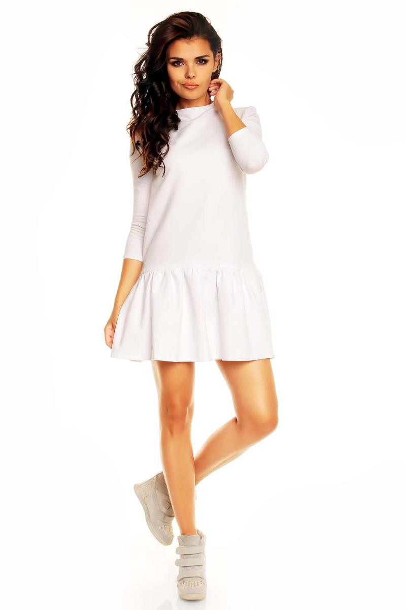 White Long Sleeves Sporty Smock Dress