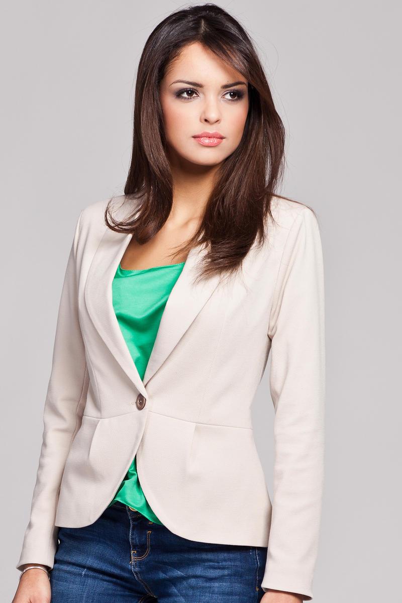 Beige Long Lapel Single Button Closure Blazer for Women
