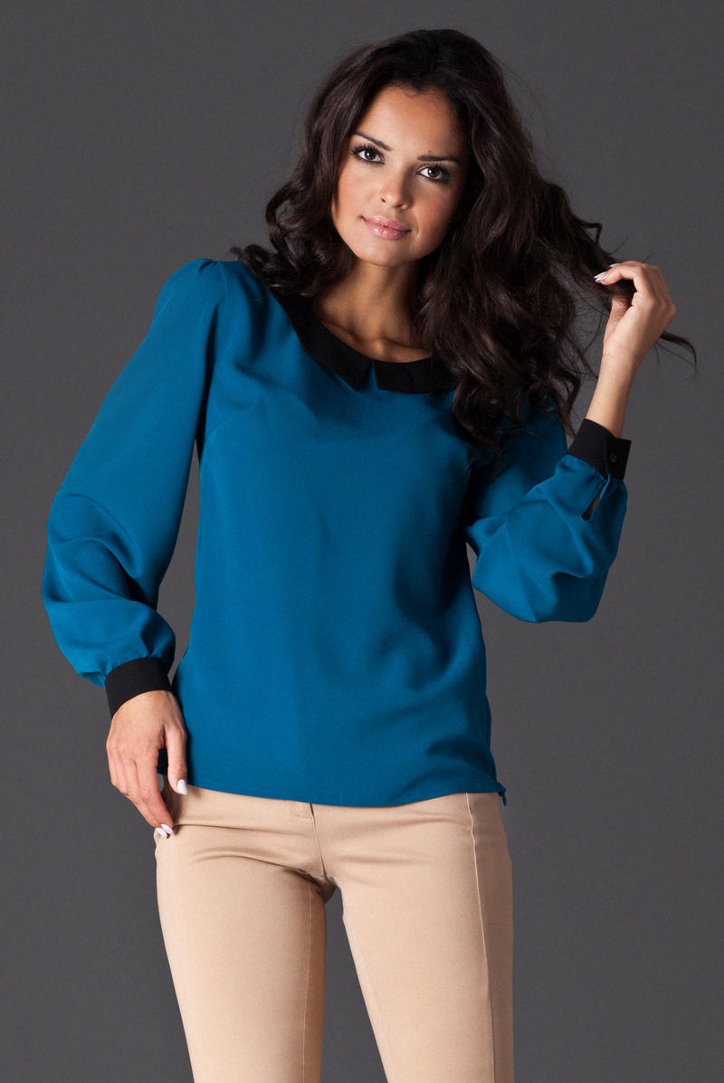 Peter Pan Collar Sky Blue Shirt with Shirred Cuffs