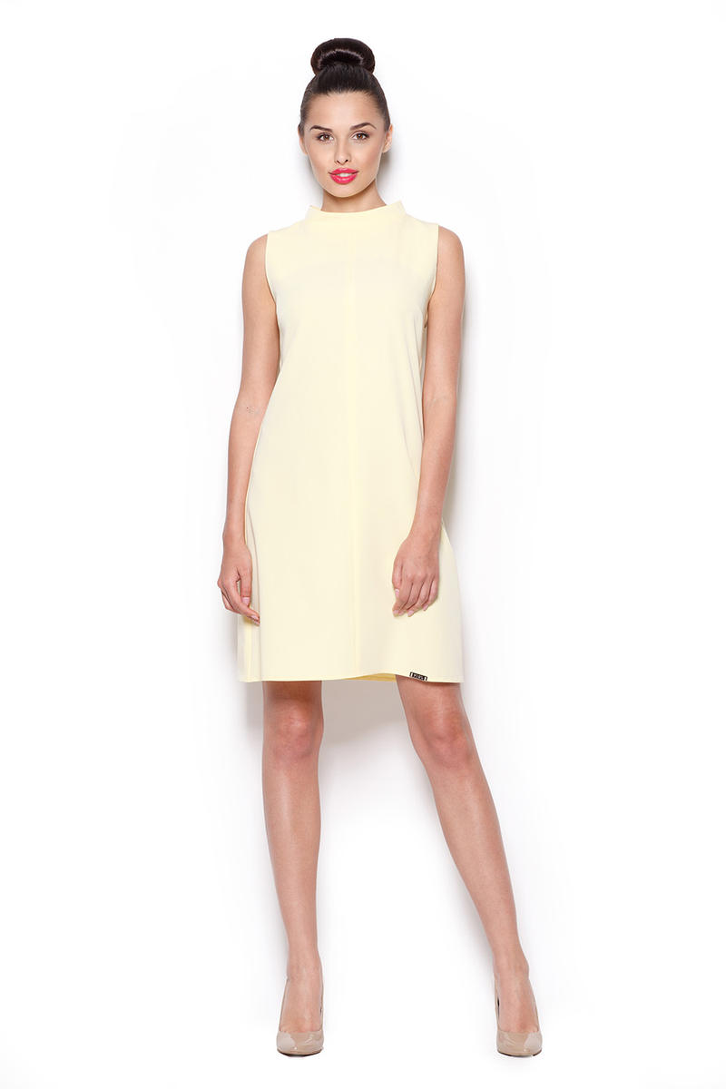 Yellow High Neck Sleeveless Shift Dress