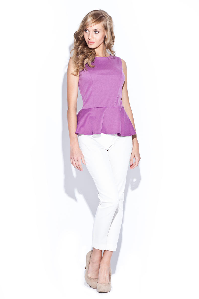 Pink Sleeveless Top with Frilled Hemline
