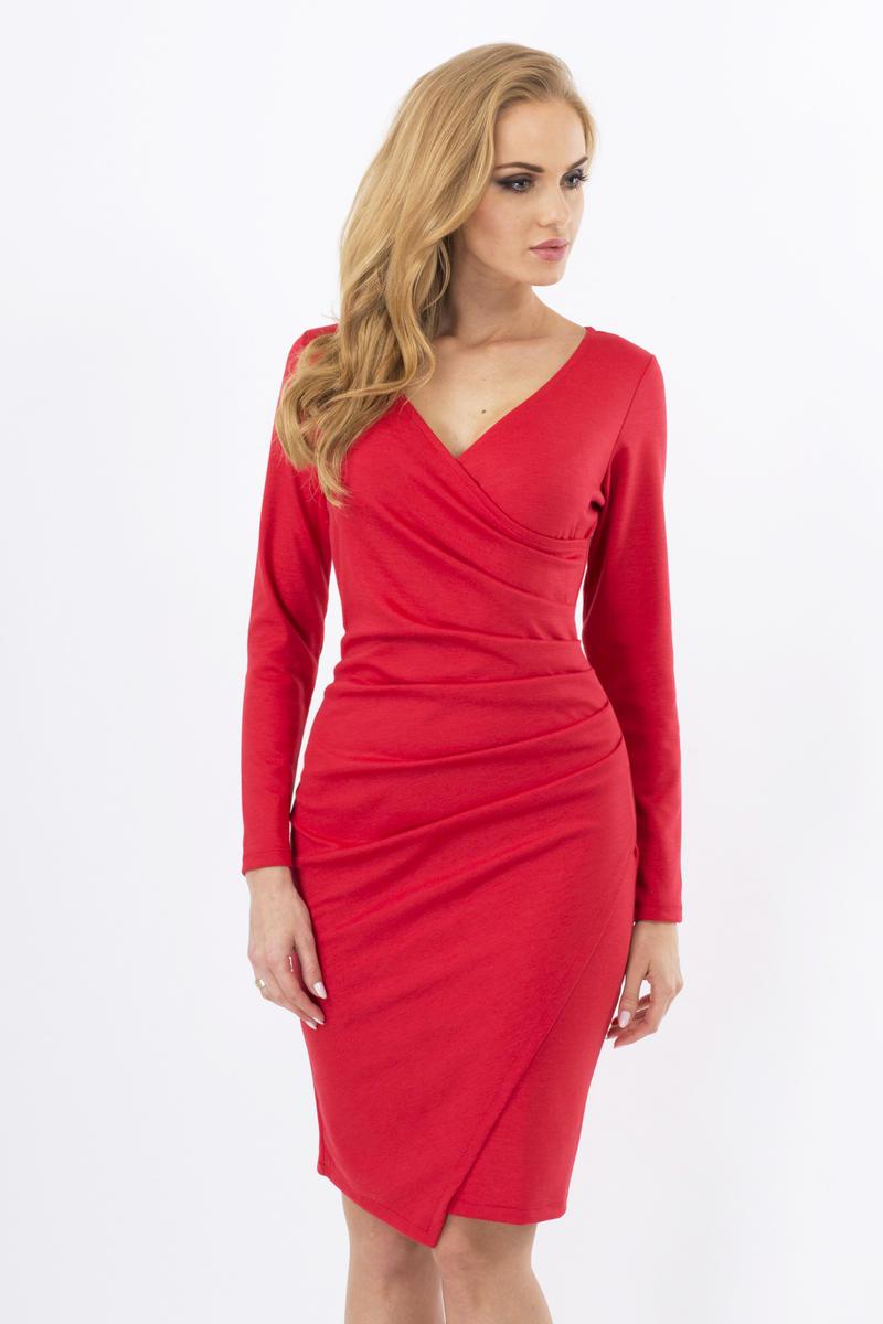 Red Wrap Around Back Seam Dress with V-Neckline