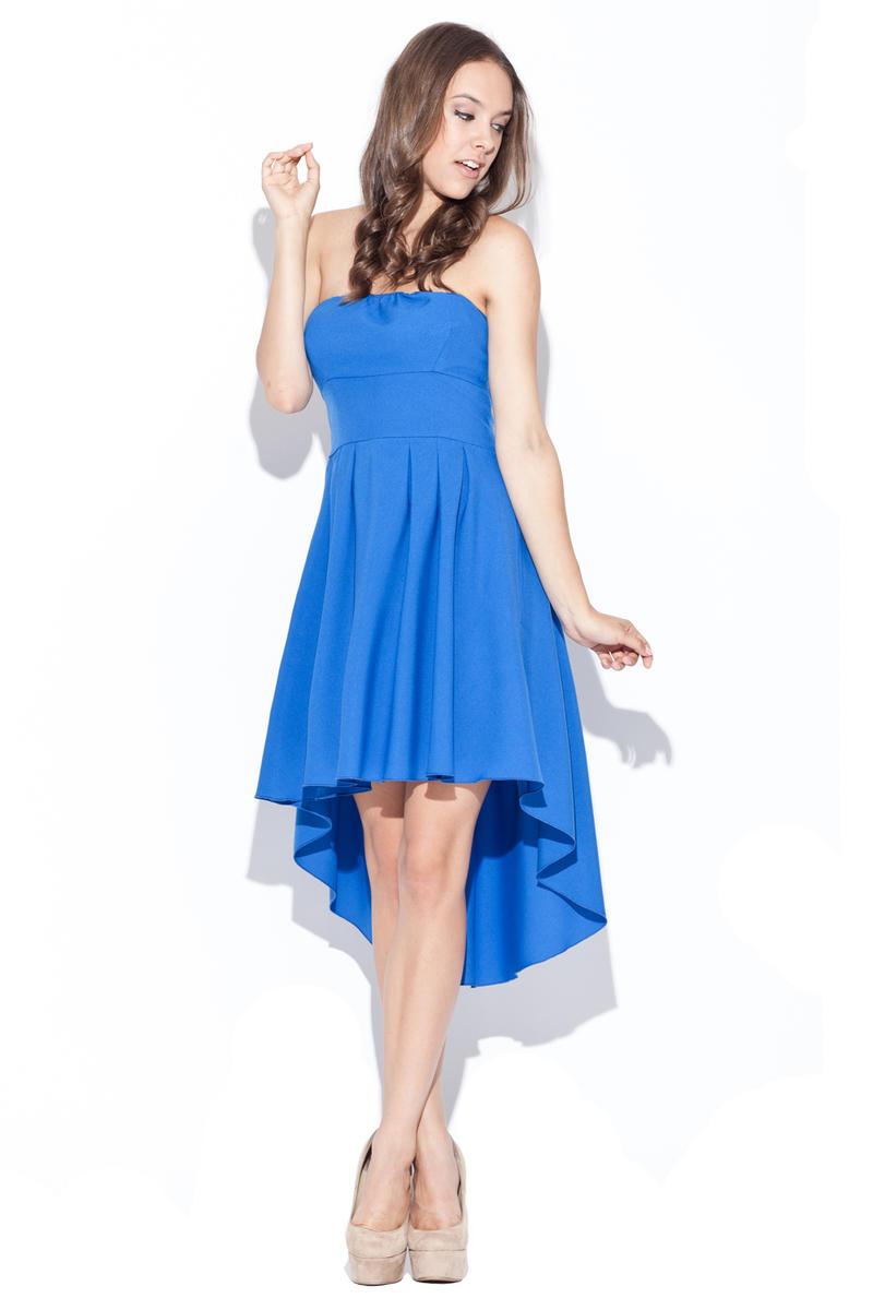 Blue Asymmetrical Pleated Bandeau Dress