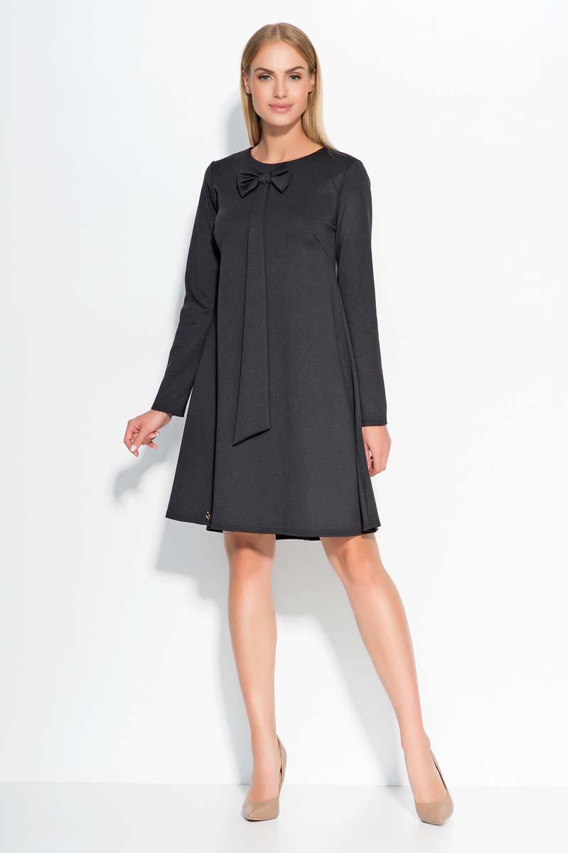 Black A Line dress with bow neckline