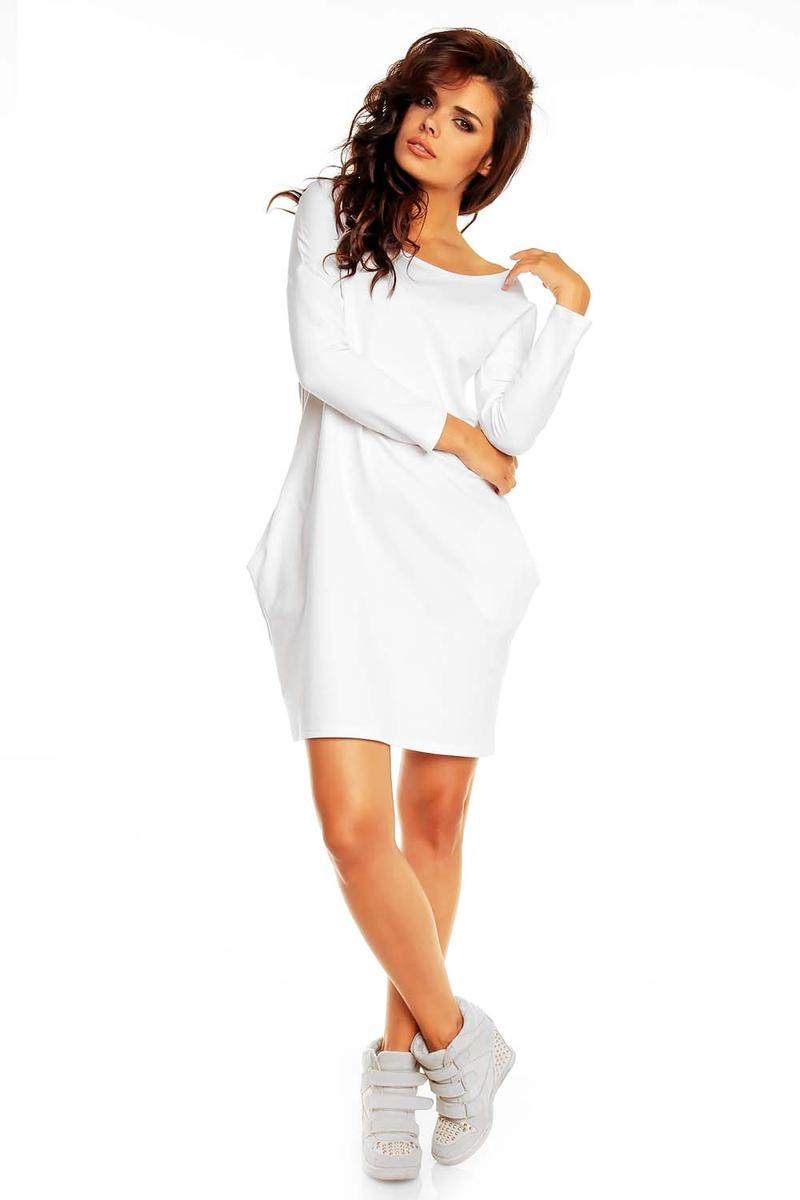 White Smartly Look Wiggle Long Sleeve Dress