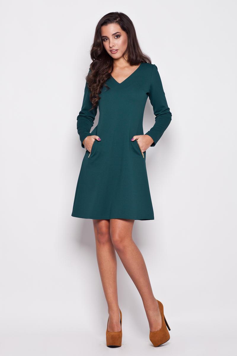 Green V Neck Shift Dress with Side Pockets