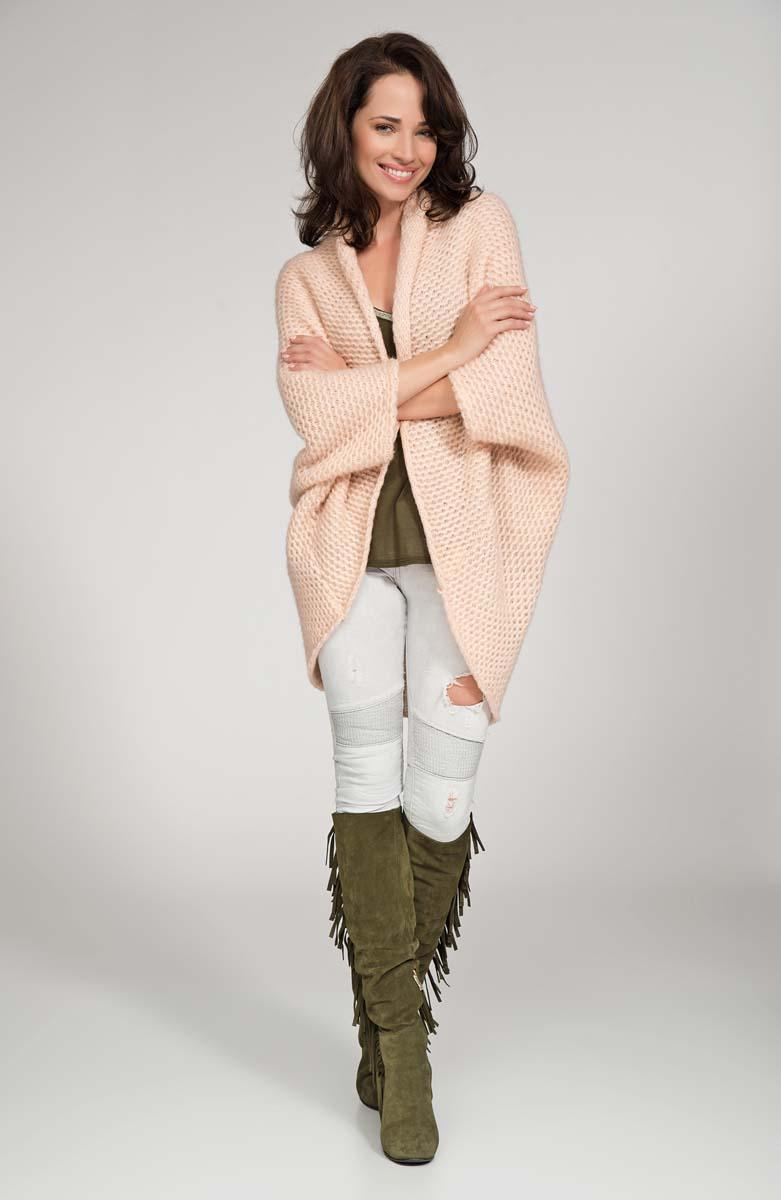 Salmon pink cardigan cape with wide shoulders