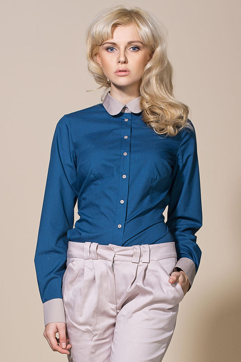 Azure Vintage Blouse With Grey Round Collar And Cuffs