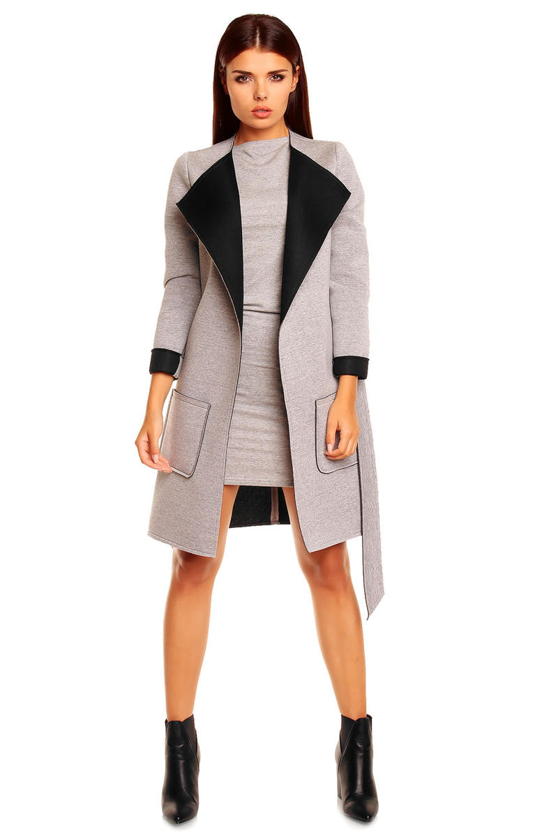 Grey and Black Belted Coat with Wide Lapels