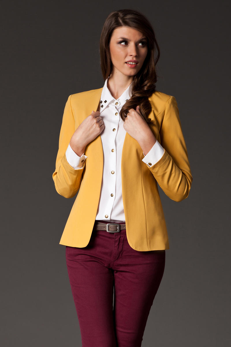 Puffed Shoulder Collarless Seam Yellow Blazer