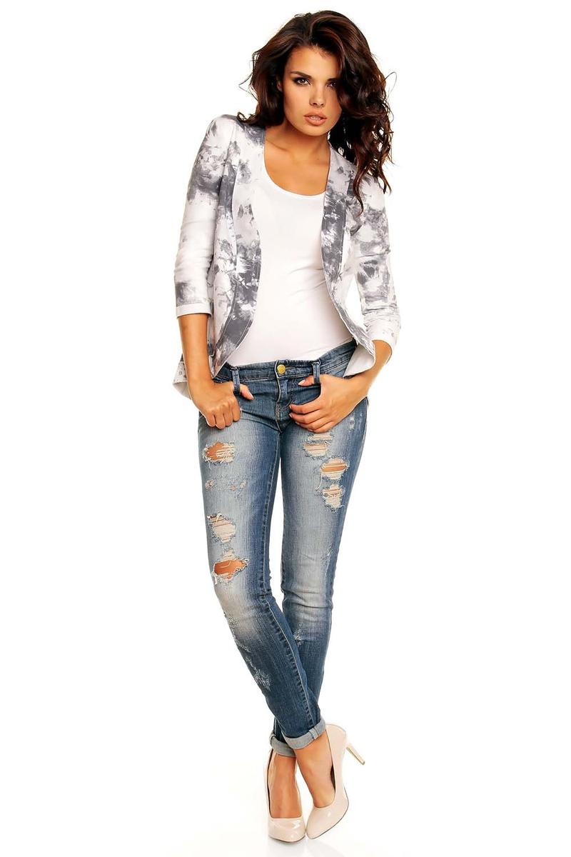 Curvy Front Open White&Grey Cardigan with 3/4 Sleeves