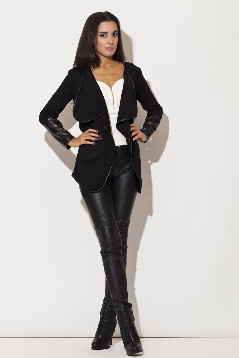 Trimmed Waterfall Black Jacket with Fitted Leather Cuffs