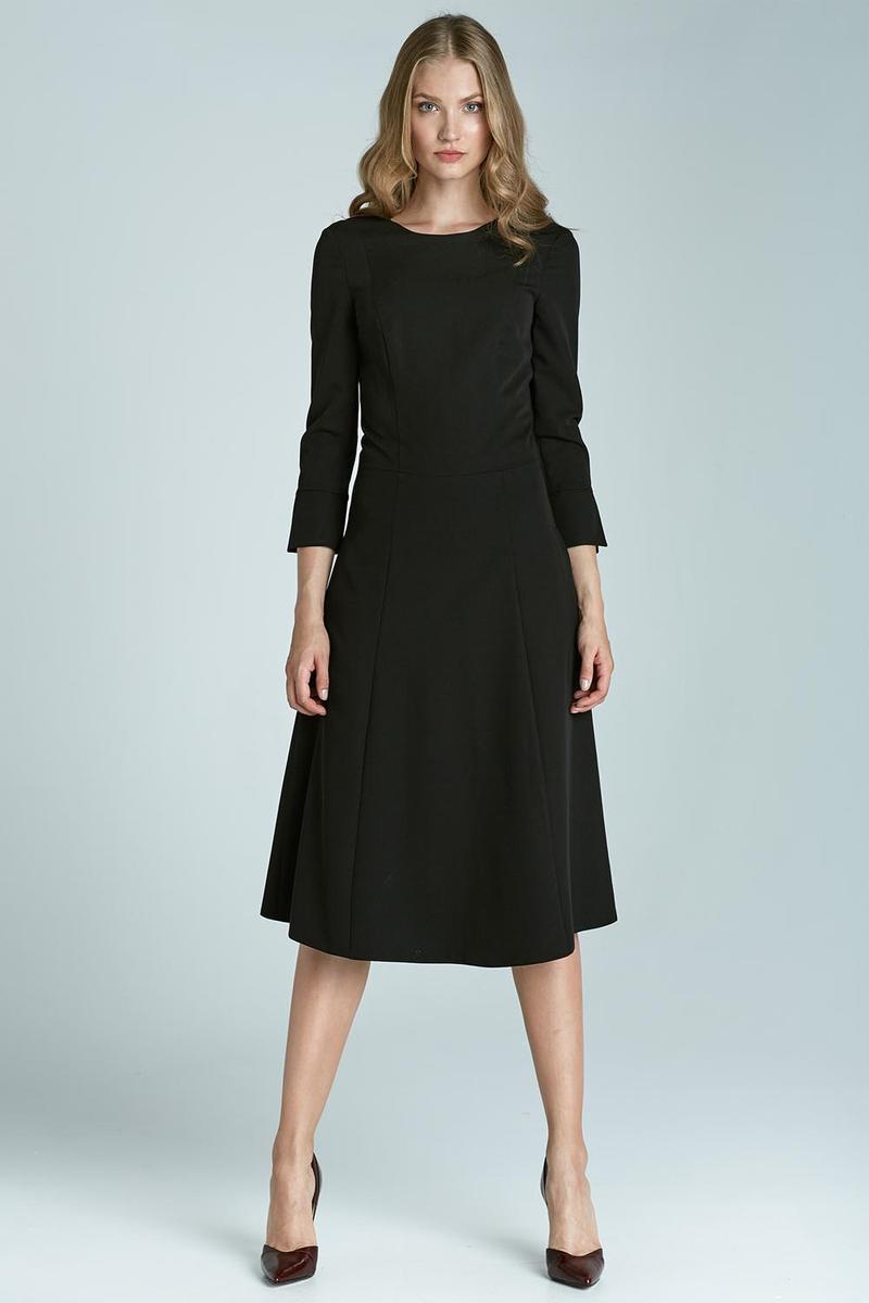 Black All Beauty Sophisticated Skater Midi Dress