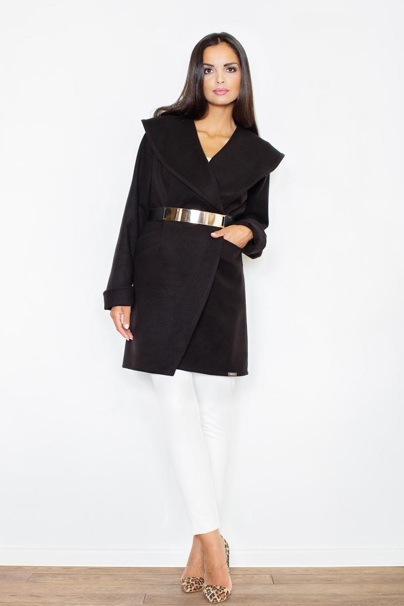 Cape Collar Black Wrap-Around Coat with Shimmer Waist Belt