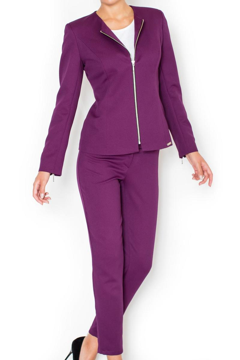 Straight Cut Elegant Purple Blazer with Zipper Cuffs