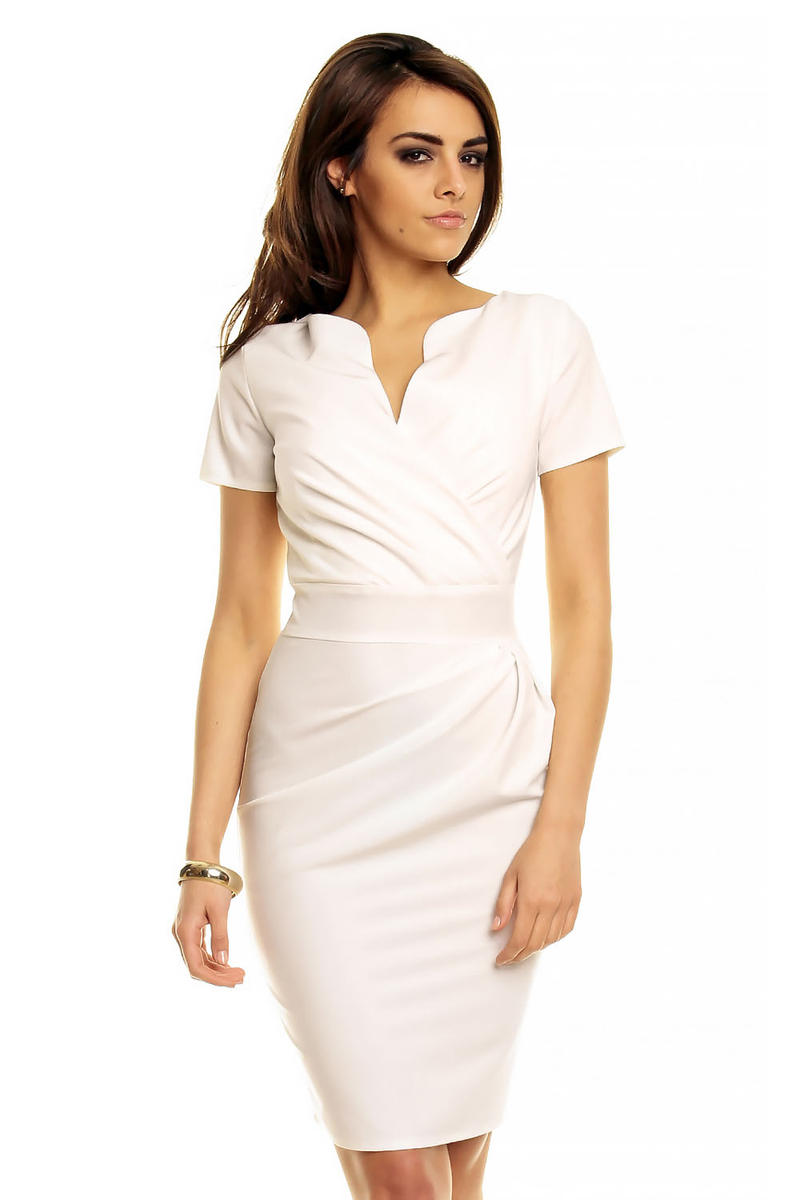 Wrap Around Self Belted Sheath Ecru Dress