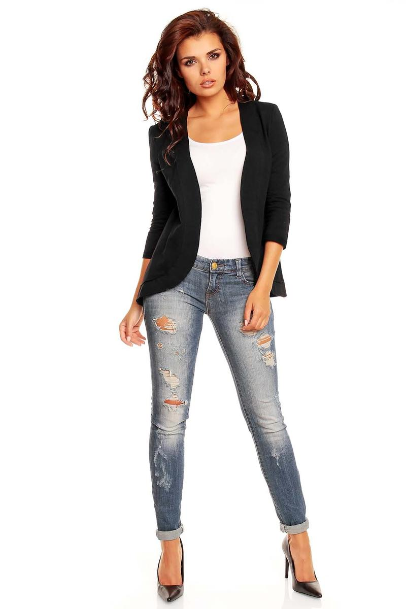 Curvy Front Open Black Cardigan with 3/4 Sleeves