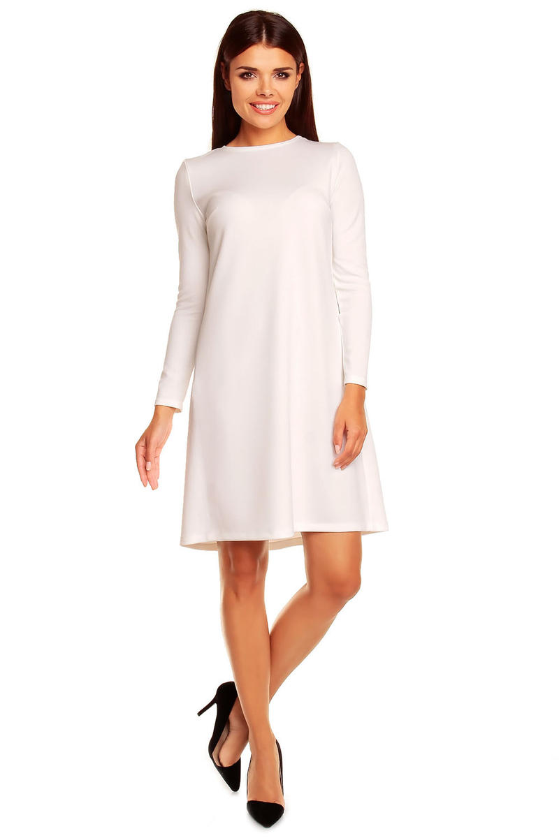 White Shift Dress with Back Pleats